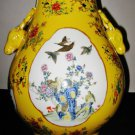 ANTIQUE CHINESE PORCELAIN FLOWER BIRD VASE WITH TWO DEAR HEADS,19TH CENTURY,
