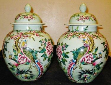Chinese Republican Artist Bi Botao W/On Porcelain Celadon Phoenix&Flower Jar,