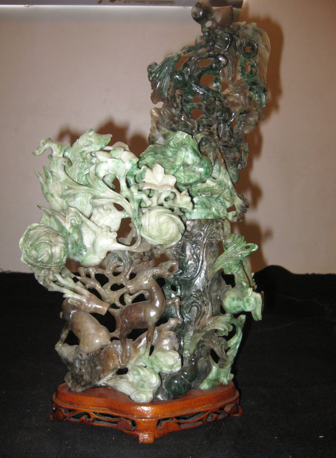 Chinese Natural Jadeite Carved, Dragon, Phoenix, Dears, Money, Peachs Statue.