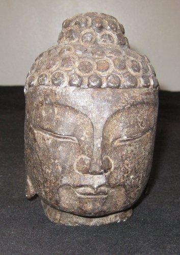 Chinese Schist Stone Buddha Head 18th C Qing Dynasty Museum China Artifact Relic.