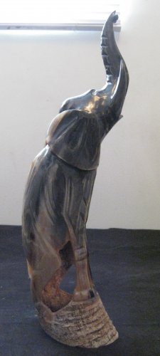 Vintage Elephant Statue Carving From Buffalo Horn.