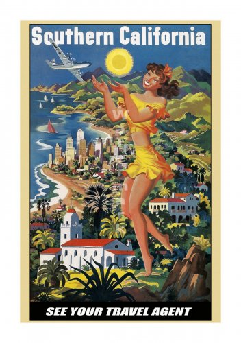 Southern California Vintage Airline Travel Poster [6 sizes, matte+glossy avail]