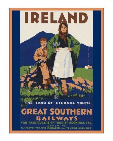 Ireland #1 - Vintage Irish Travel Poster [4 sizes, matte+glossy avail]