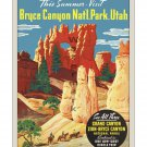 Bryce Canyon Grand Canyon - Vintage Travel Poster [4 sizes, matte+glossy avail]