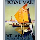 Royal Mail Atlantis Autumn Cruises Travel Poster [4 sizes, matte+glossy avail]