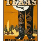 Braniff Texas - Vintage Airline Travel Poster [6 sizes, matte+glossy avail]