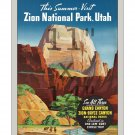 Zion National Park Utah  - 11x14 inch Vintage Travel Poster