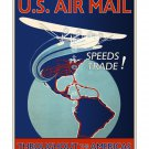 US Airmail Speeds Trade - Vintage Poster [4 sizes, matte+glossy avail]