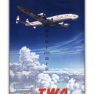 TWA Across US & Overseas Airline Travel Poster [6 sizes matte+glosy avail]