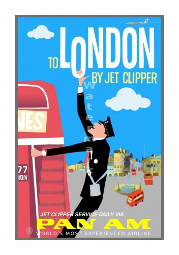 Pan Am London Vintage Airline Travel Poster [6 sizes matte+glossy avail]