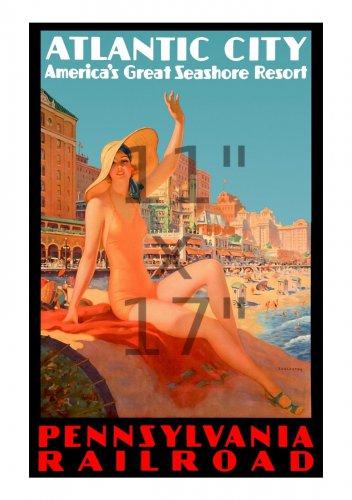 Pennsylvania Railroad Atlantic City #4 - 11x17 inch Vintage Train Travel Poster