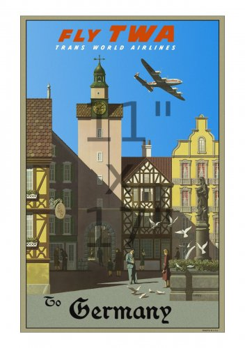 TWA Germany - 11x17 inch Vintage Airline Travel Poster
