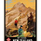 New Zealand - Mt. Cook - Vintage Travel Poster [4 sizes, matte+glossy avail]