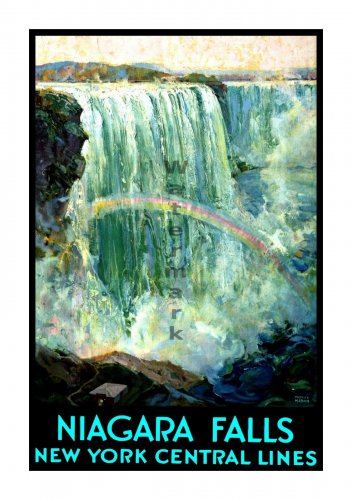 NY Central Railroad Niagra Falls Travel Poster [6 sizes, matte+glossy avail]
