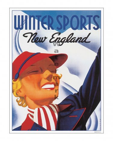 Winter Sports - New England Vintage Travel Poster [4 sizes, matte+glossy avail]