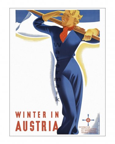 Austria #6 - Vintage Travel Poster Print [4 sizes, matte+glossy avail]