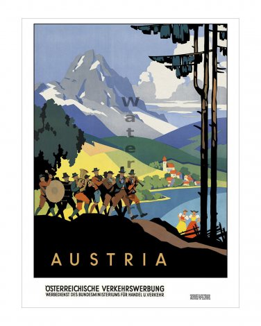 Austria #2 - Vintage Travel Poster [4 sizes, matte+glossy avail]