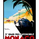 1933 Monaco Grand Prix Vintage Racing Poster [6 sizes, matte+glossy avail]