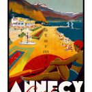 Annecy la plage - Vintage Travel Poster [6 sizes, matte+glossy avail]