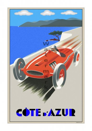 Cote d' Azur - Vintage Auto Racing [6 sizes, matte+glossy avail]