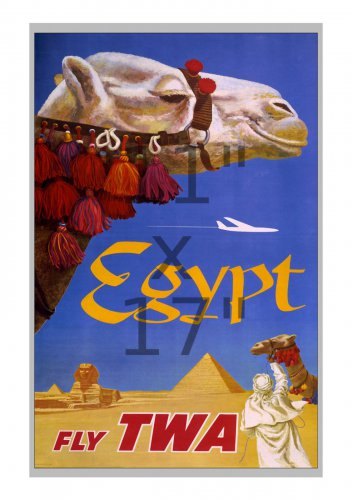 TWA Egypt - 11x17 inch Vintage Airline Travel Poster