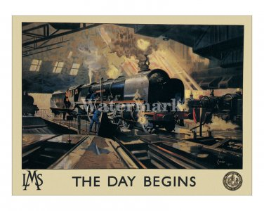 LMS Railways The Day Begins British Travel Poster [4 sizes, matte+glossy avail]
