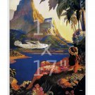 Pan Am - Fly to South Sea Isles - Vintage Airline Travel Poster - 11x17 inches