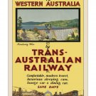 Trans Australian Railway Vintage Travel Poster [4 sizes, matte+glossy avail]