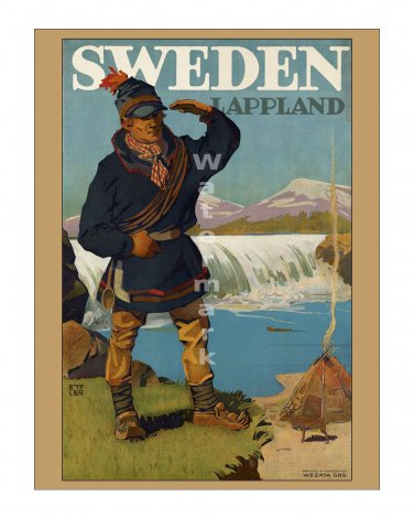 Sweden Lappland - Vintage Travel Poster [4 sizes, matte+glossy avail]