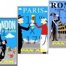 London - Paris - Rome - 11x17 inch 3pc Vintage Travel Poster Set