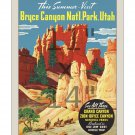 Bryce Canyon - Grand Canyon National Park - 11x14 inch Vintage Travel Poster