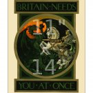 Britain Needs You - 11x14 inch Vintage WWI British Recruiting/Propaganda Poster