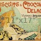Biscuits & Chocalat Delacre 11x17 Vintage 19th Cent. Belgian Art Nouveau Poster