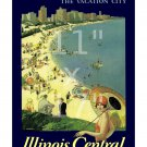 Chicago Vacation City 11x17 inch Vintage Illinois Central Railroad Travel Poster