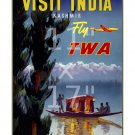 "TWA ""India #2"" - 11x17 inch Vintage Airline Travel Poster"