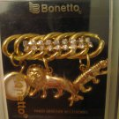 VTG Bonetto Brooch Watch Rhinestones Animal Charm Tiger Lion 3 & 3/8 In Orig Box