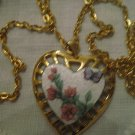 VTG 1 & 3/16 Inch Butterfly Flowers Leafs Stems Guilloche Heart Pendant Necklace