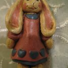 Vintage Handcarfted Wood Dressed Rabbit Brooch / Hand Carved Hand Painted