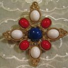 Vintage Sarah Coventry Red White Blue Faux Gemstones Goldtone Metal Never Worn