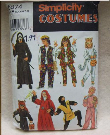 SIMPLICITY Pattern #8874 Childs's Costumes size 3-8