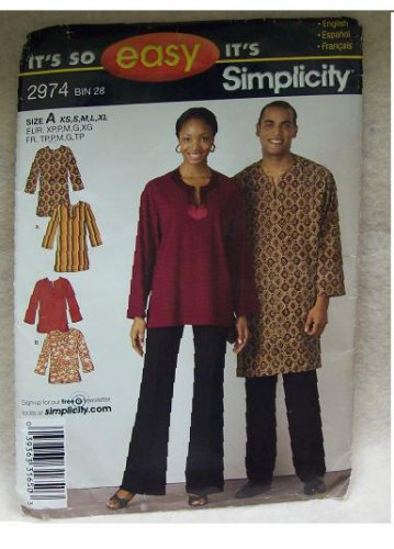 **Simplicity Pattern #2974 Misses, Mens and Teens Tunic or Shirt, xs, s, m, l, xl