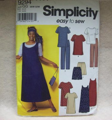 SIMPLICITY Pattern #9294 Misses dress or tunic, top, jumper and pants or shorts, size 26w 0 32w