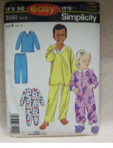 SIMPLICITY  Pattern #3550 Toddlers and childs pajamas, size 1/2 to 6