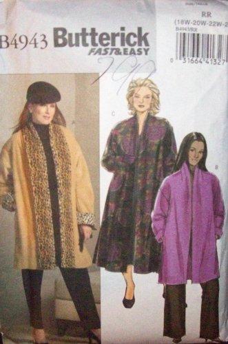 **Butterick Pattern #B4943, womens Coat, loose fitting front coat size, 18w, 20w, 22w, 24w