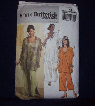 **Butterick Pattern #B4816, women's tunic and pants, size 26w, 28w, 30w, 32w
