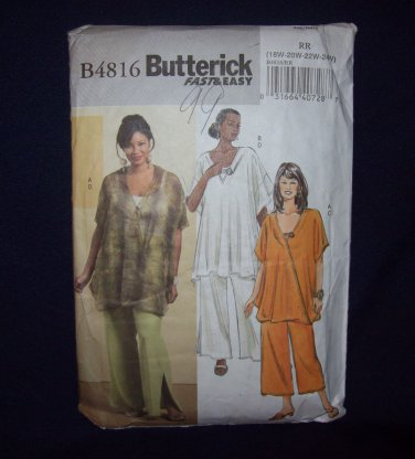 **Butterick Pattern #B4816, women's tunic and pants, size 18w, 20w, 22w, 24w,