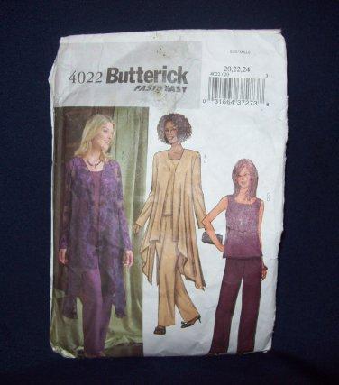 **Butterick Pattern #4022, size 20, 22, 24,  misses/misses petite jacket, top and pants,
