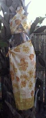 Sarong 2- Piece Cream & Yellow Flowers On White ~ On Sale