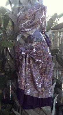 Sarong 2-Piece Purple Border With Paisley Print ~ On Sale