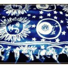 Blue & White Smiling Suns & Moons Beach Cover Up Sarong